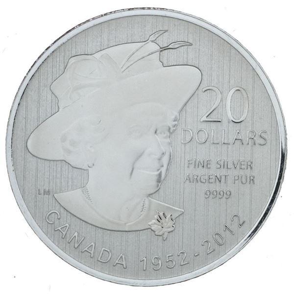 RCM 1952 - 2012 Fine Silver $20 Queen  Elizabeth Coin