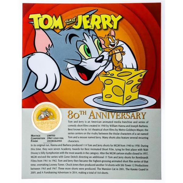 Tom & Jerry 80th Anniversary 24kt Gold Foil  Medallion w Giclee Art Card