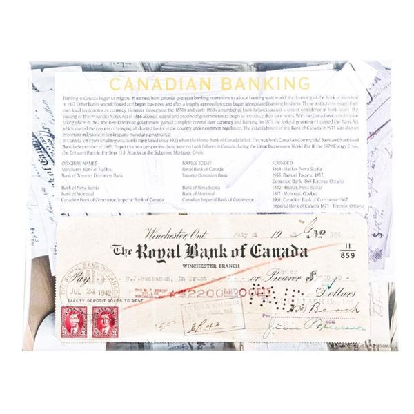 Canadian Banking - Royal Bank of Canada 1942  Cheque w/ Excise Stamps & Giclee Story Card