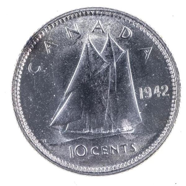 1942 Canada Silver 10 cents MS63 ICCS
