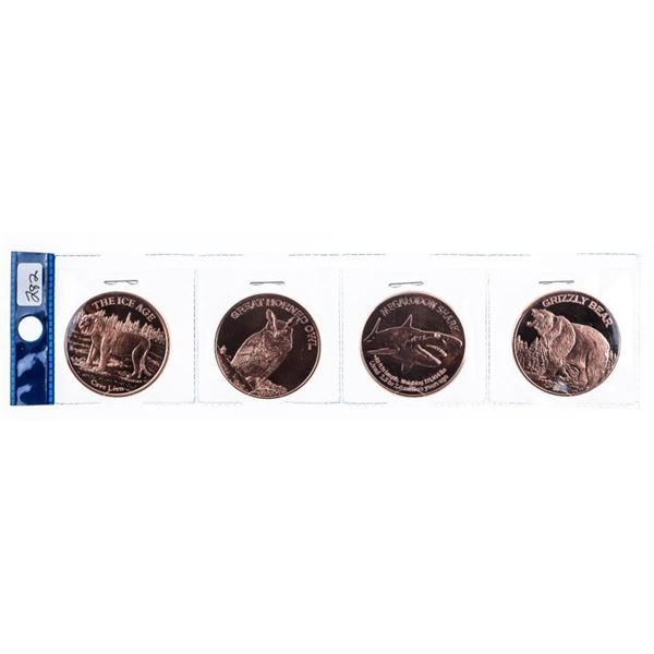 Group of 4 ICE AGE Wildlife .999 Fine Pure  Copper Rounds