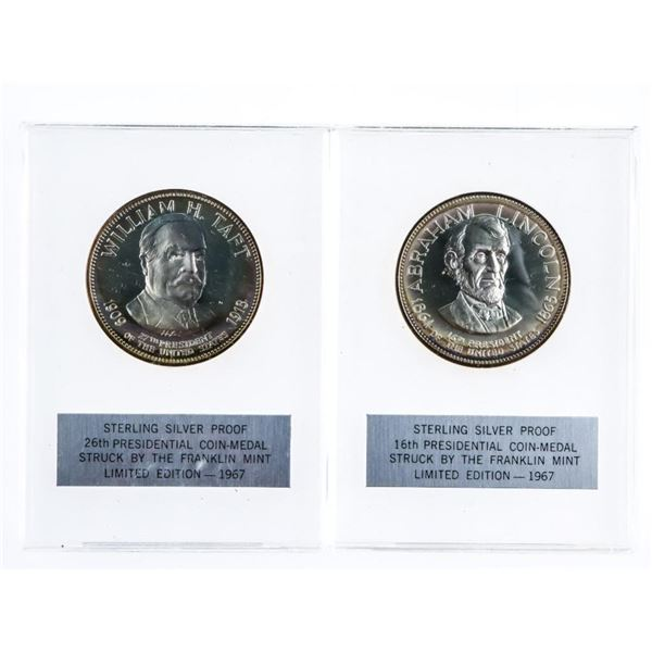 Lot 2 925 Sterling Silver Proof Presidential  Coin/Medals, William Taft & Abraham Lincoln