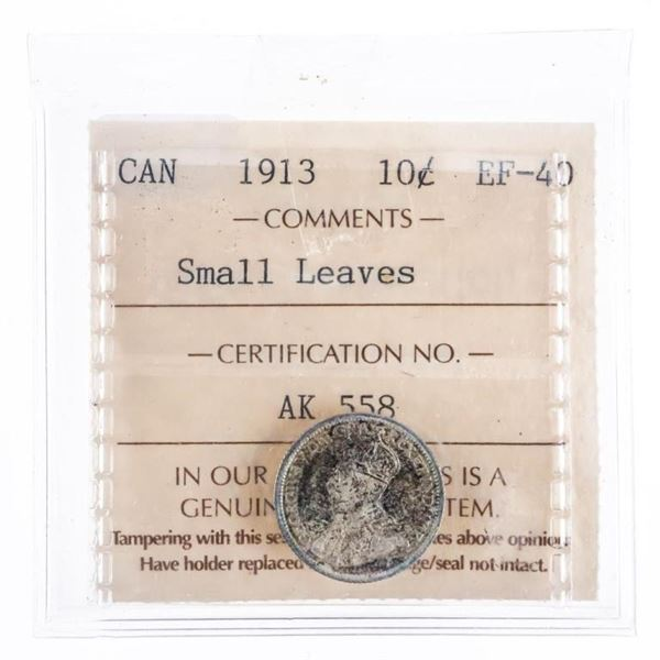 1913 Canada Silver 10 cents Small Leaves EF40  ICCS