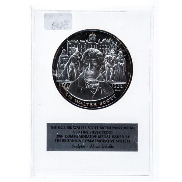 Sir Walter Scott 1771-1932 Fine Silver Medal  41.2 Grams