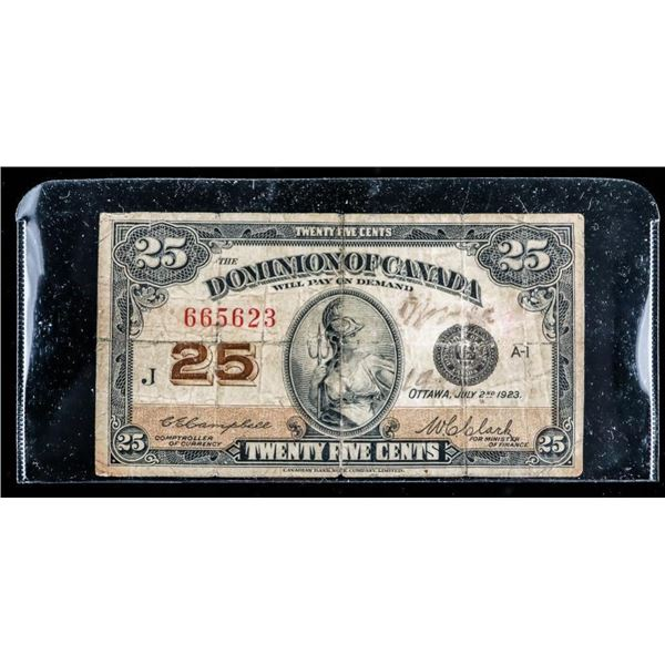 Dominion of Canada 1923 Twenty Five Cents C/C