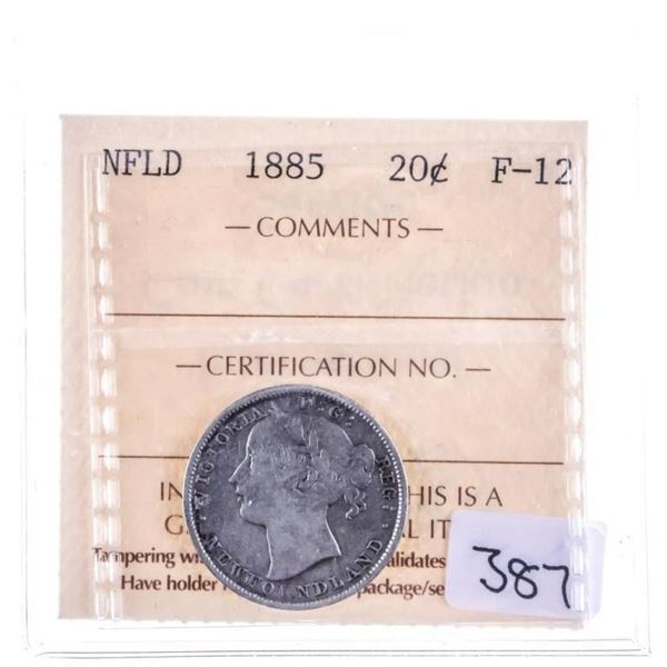 NFLD 1885 Silver 20 Cents ICCS