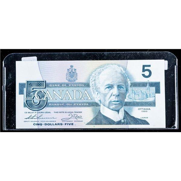 OLMSTEAD ORIGINAL Bank of Canada 1986 $5 UNC