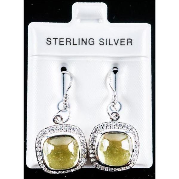 925 Sterling Silver Drop Earrings - Lemon  Quartz