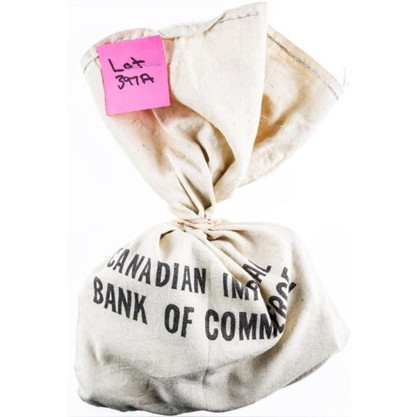 Canadian Imperial Bank of Commerce Canvas  Bank Bag with 25 Rolls Canada Pennies -1250  Coins