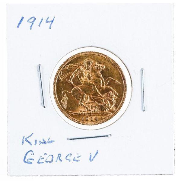 1914 King George V Gold Sovereign .917