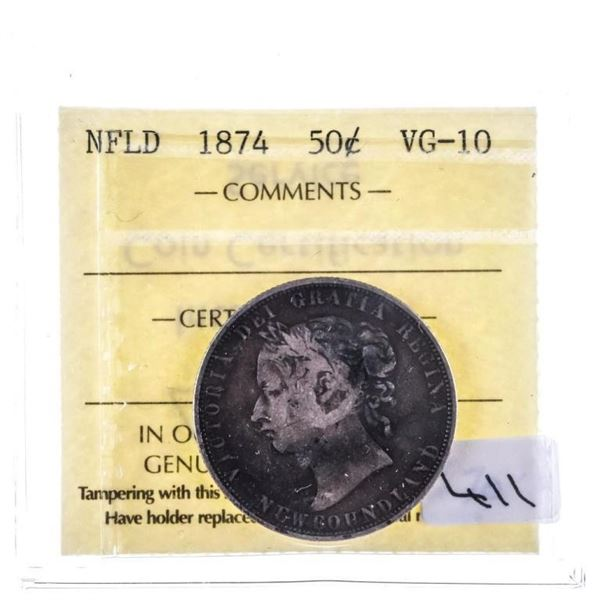 NFLD 1874 Silver 50 Cents VG10 ICCS