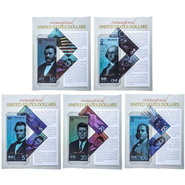 Reimagined United States Dollars - Set of 5 -  Gold President Signature on Each Serial  Numbered Bil