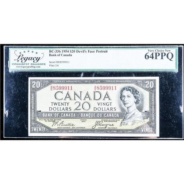 OLMSTEAD ORIGINAL Bank of Canada 1954 DEVIL'S  FACE PORTRAIT Legacy Cert. Very Choice New  -65PPQ