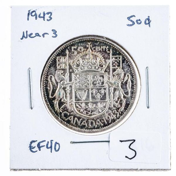 1943 Near 3 Silver Canada 50 Cents