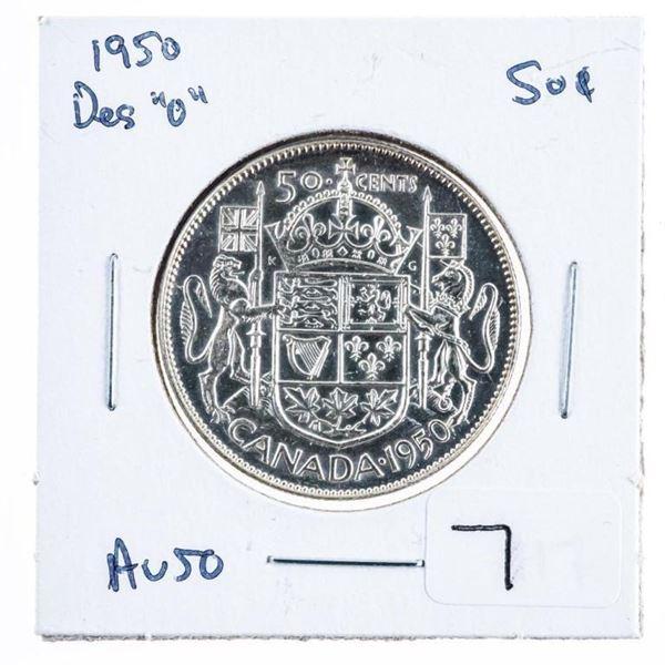 "1950 Design ""o"" Canada Silver. 50 Cents"