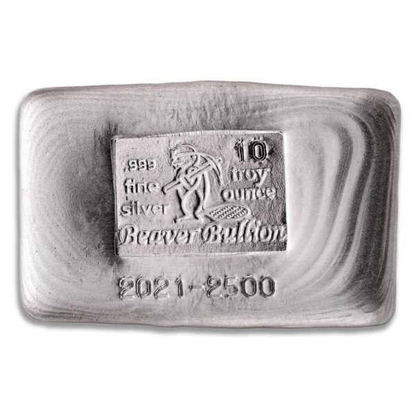 Canada's Beaver .999 Fine Silver Hand Poured  10oz Bar.(Available for Pick Up or Delivery  Within