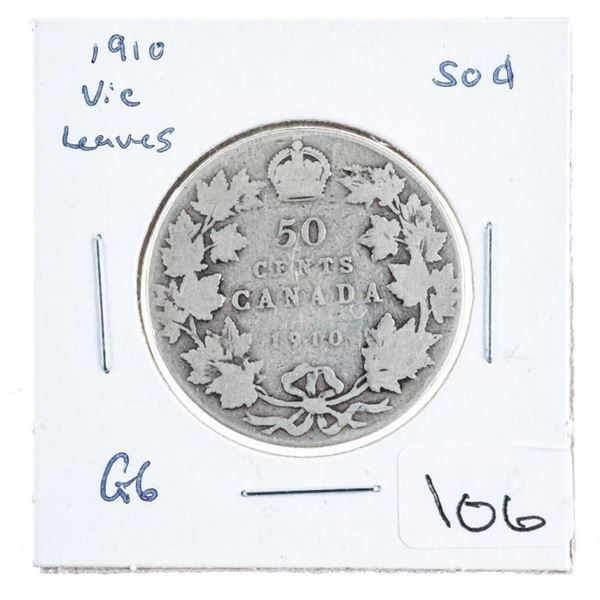 1910 Canada Silver 50 Cents - Victorian  Leaves