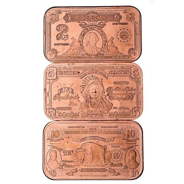 Group of 3 .999 Fine Pure Copper 1oz. Bars -  USA $2, $5, $10