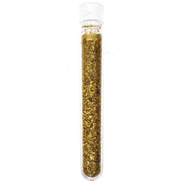 "24kt Gold Leaf Flakes - 3"" Assayers Glass  Tube"