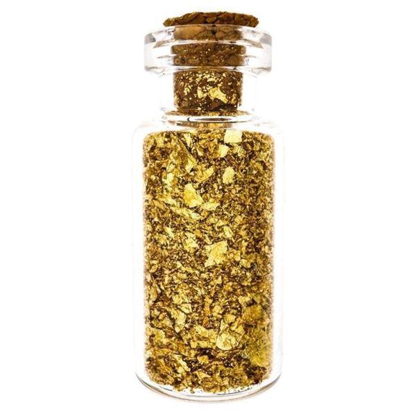 Glass Assayers Jar of 24kt Gold Flakes w/Cork  Stopper