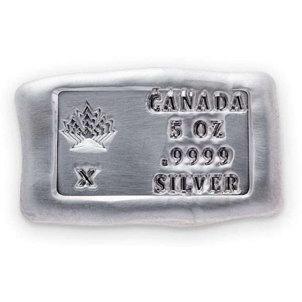 Canada's Maple Leaf - .999 Fine Silver 5oz Bar. (Available for Pick Up or Delivery Within 7-14 Days)