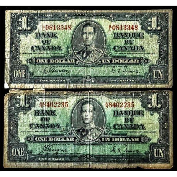 Lot 2 Bank of Canada $1 1937 -2 Signature  Sets