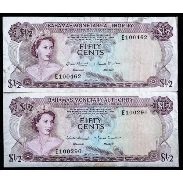 Bahamas Monetary Authority Lot 2 1965 $1/2  #17