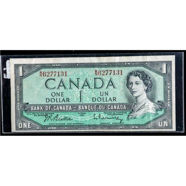 OLMSTEAD ORIGINAL 1954 $1 W/N Fine+ -No Front  Plate Number