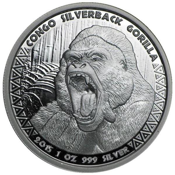 Sold Out - Congo's Gorilla .999 Fine Silver  1oz Round.