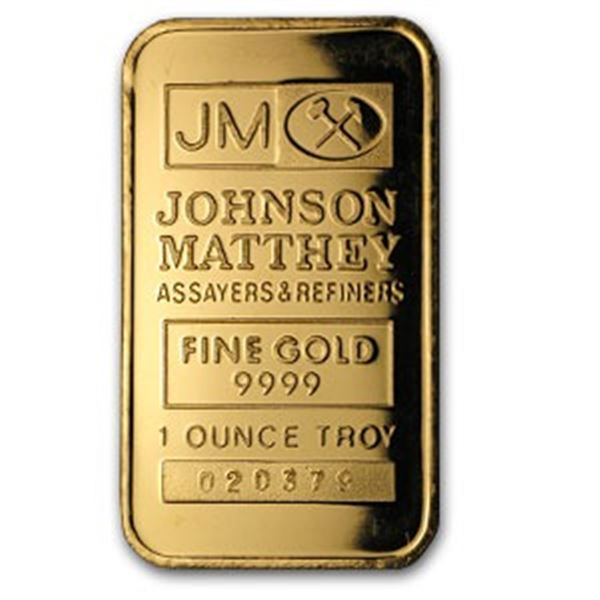 Johnson Matthey .999 Fine Gold Bar 1oz.  (Serial May Vary)
