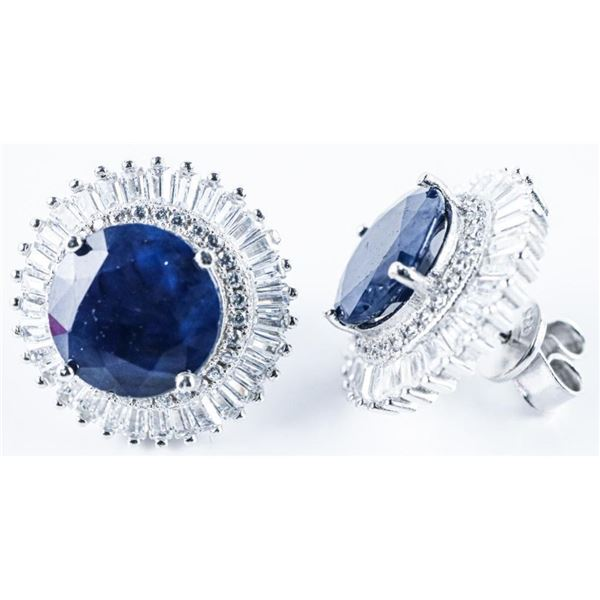 925 Sterling Silver Earrings, 2 Round Cut  Natural Blue Sapphires -10.82ct & 140 CZ's.  17.80 Ct TW,