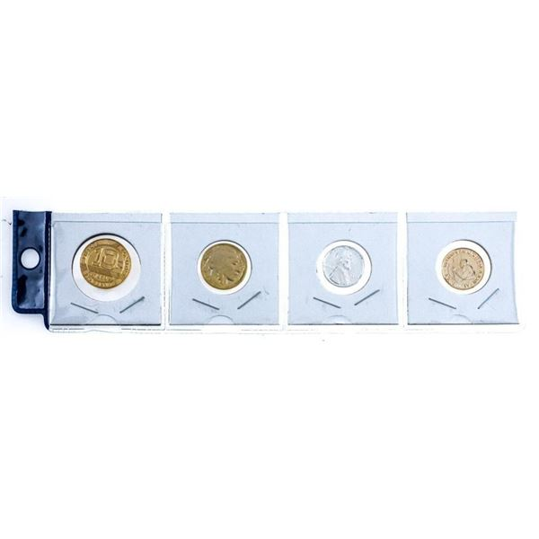 Group of 4 GOLD plated Coins