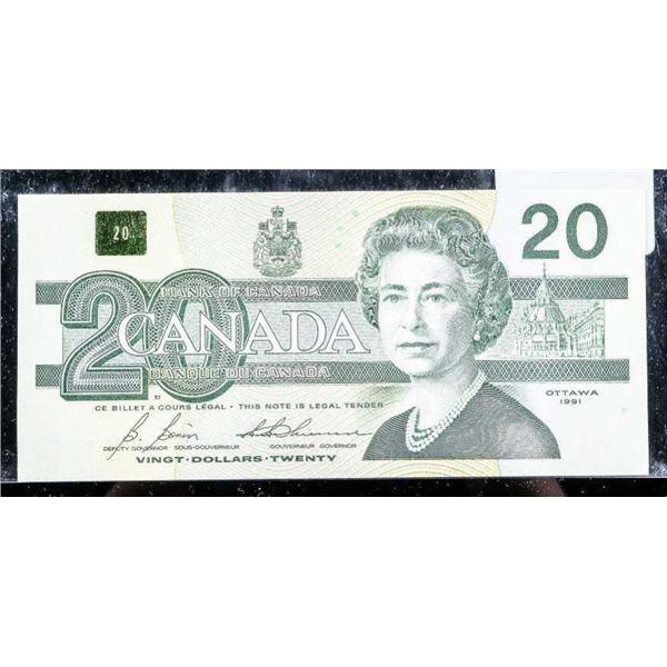 OLMSTEAD ORIGINAL Bank of Canada 1991 $20 GEM
