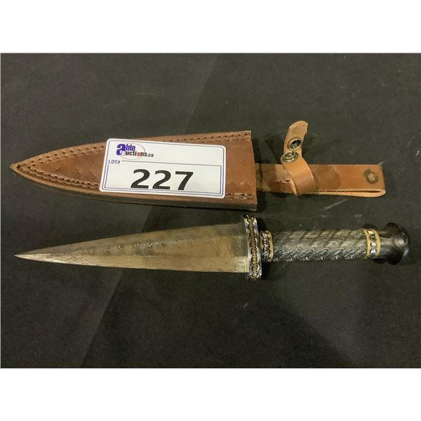 DAMASCUS KNIFE WITH SHEATH (BLADE RUSTED)