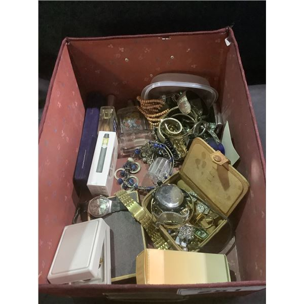 BIN OF ASSORTED JEWELRY, WATCHES, PERFUME, & MORE