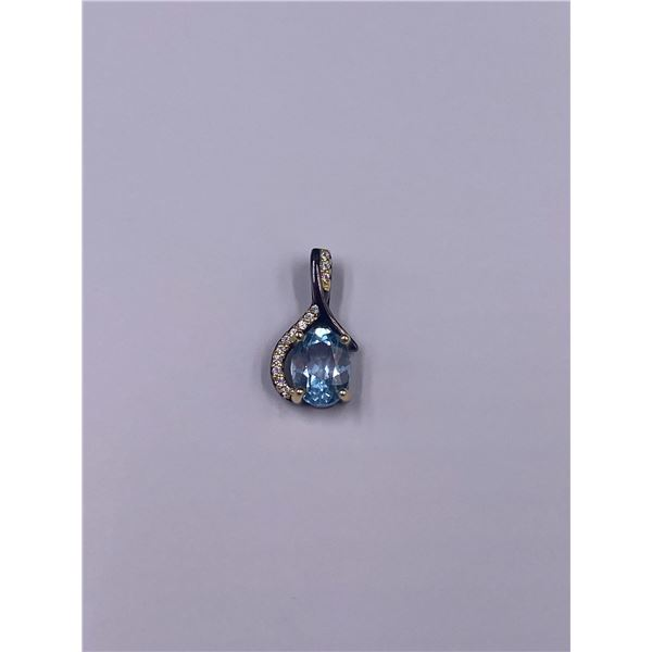 NATURAL SKY BLUE TOPAZ AND CZ PENDANT .925 STERLING SILVER 17.21 X 8.33MM, 6.99CTS, THAILAND