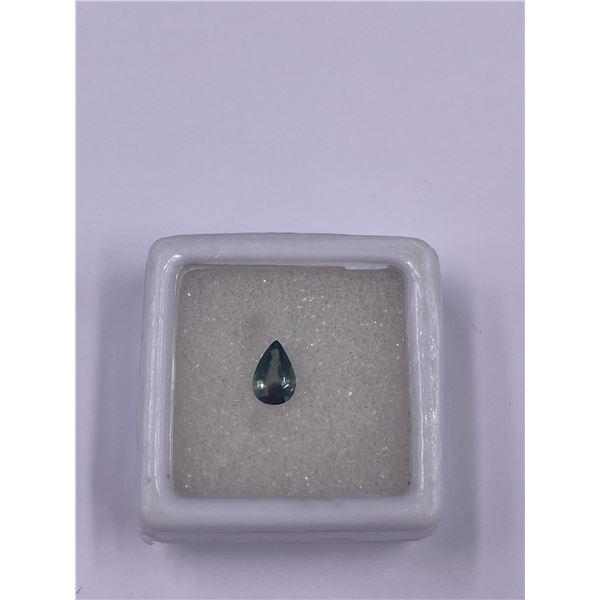 RARE GREENISH BLUE SAPPHIRE, 0.57CT, 6.5 X 4.3MM, PEAR CUT, VS CLARITY, AUSTRALIA, HEATED