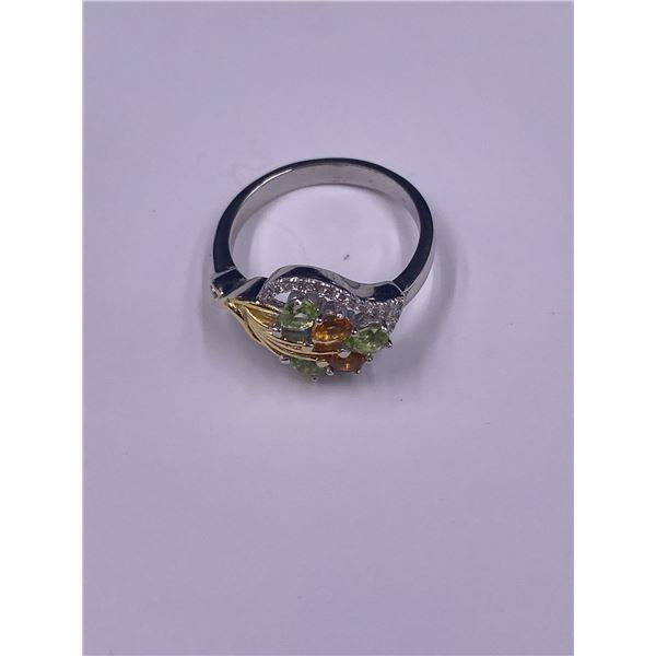 NATURAL GREEN PERIDOT, YELLOW CITRINE AND CZ RING, .925 STERLING SILVER, SIZE 8, 18.2 X 13.5MM,