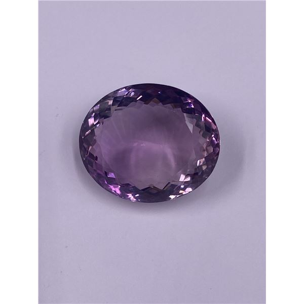 COLOSSAL AMETHYST MASTER CUT 42.21CT, 24.63 X 21.12 X 12.24MM, OVAL CUT, LOUPE CLEAN CLARITY,