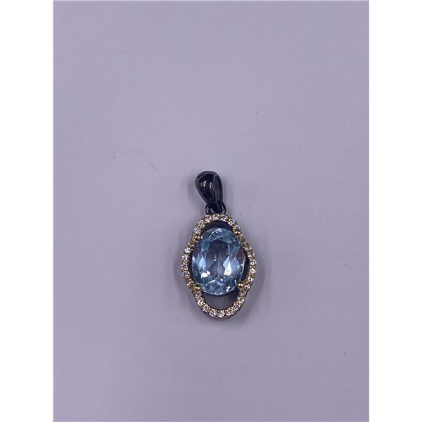 NATURAL 7 X 9MM SKY BLUE TOPAZ & WHITE CZ .925 STERLING SILVER PENDANT 21 X 10.3MM, 11.89CT,