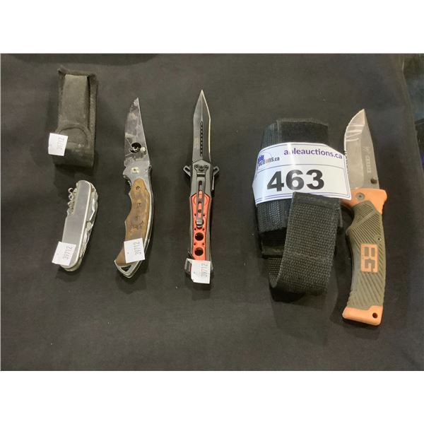 4 ASSORTED KNIVES & 2 KNIFE HOLSTERS