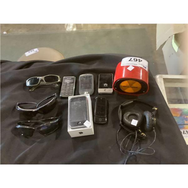 ASSORTED SUNGLASSES, CELLPHONES, & MORE
