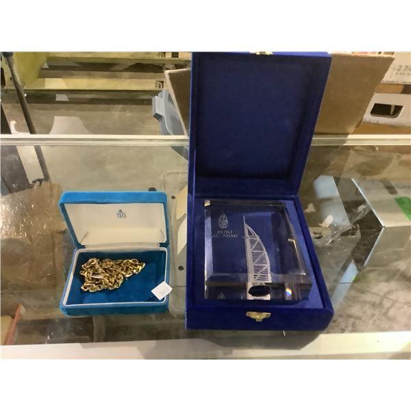 BURJ AL ARAB GLASS TABLE PLAQUE & GOLD TONE NECKLACE