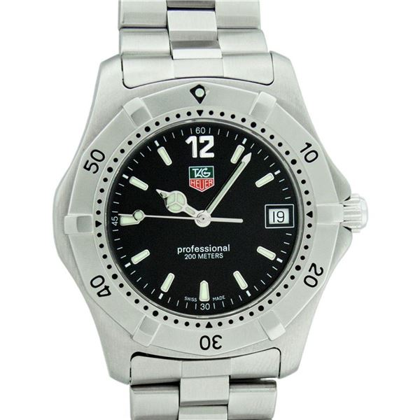 Tag Heuer Unisex Stainless Steel Black Dial 37mm Professional Series Wristwatch