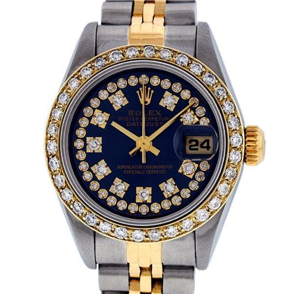 Rolex Ladies 2 Tone Quickset 18K Blue String Diamond Datejust Wristwatch