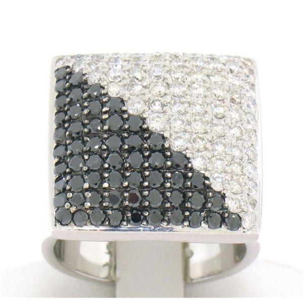 Large 18k White Gold 3.60 ctw Black & White Diamond Square Cushion Ladies Ring