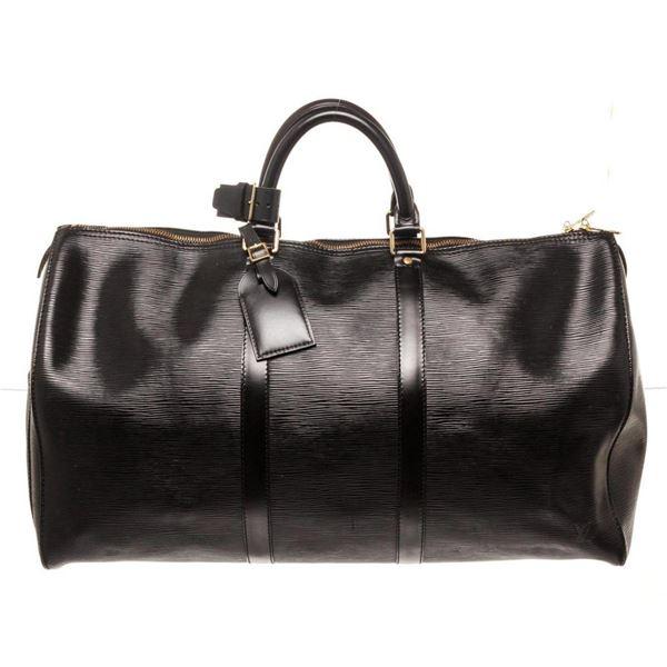 Louis Vuitton Black Epi Leather Keepall 50cm Travel Bag