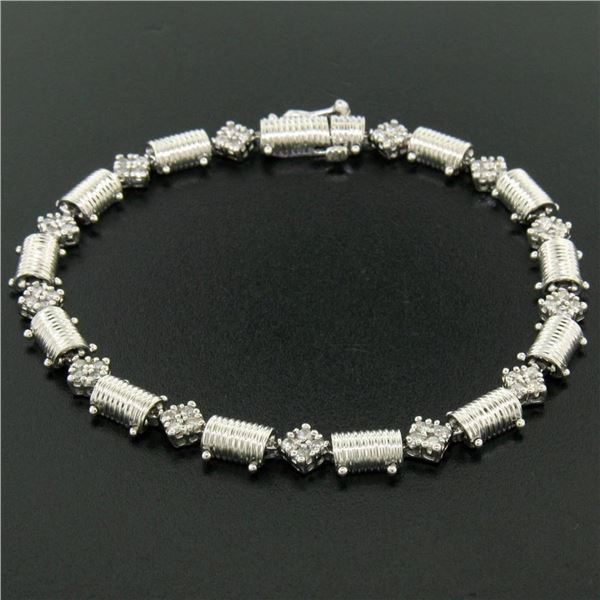"14K White Gold 7.25"" 1.30 ctw Round Diamond Cluster & Ribbed Link Tennis Bracele"