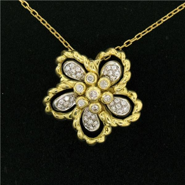 18k Yellow and White Gold 1.22 ctw Diamond Cluster Flower Pendant Necklace
