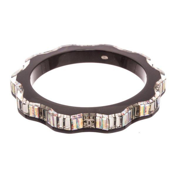 Chanel Brown Resin Baguette Bangle Bracelet